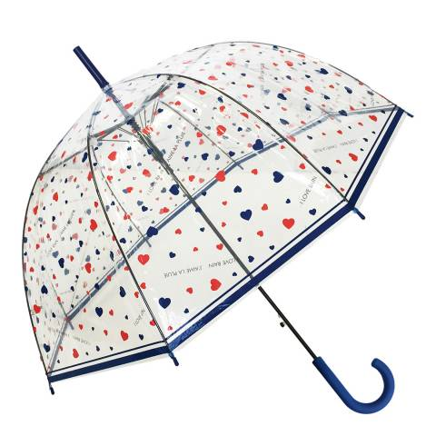 Smati Transparent / Blue / Red Heart Birdcage Umbrella