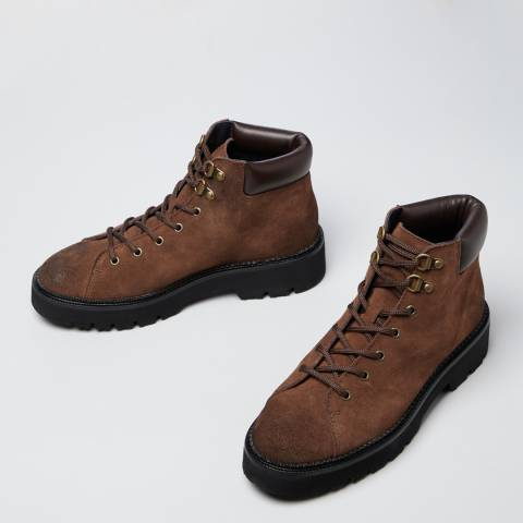Oliver Sweeney Brown Burnished Suede Ava Hiker Boots