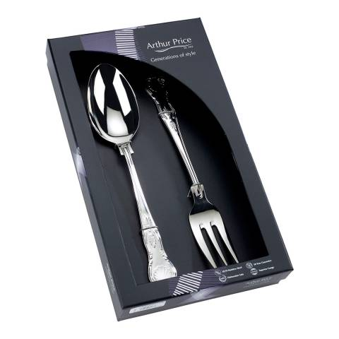 Arthur Price 2 Piece Kings Large Serving Spoon and Fork Set