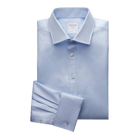 Thomas Pink Blue Royal Oxford Tailored Double Cuff Shirt