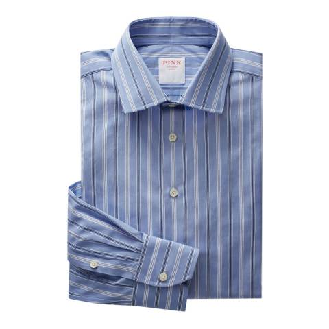 Thomas Pink Blue Argento Stripe Tailored Fit Shirt