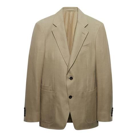 Thomas Pink Beige Textured Cotton Blend Jacket