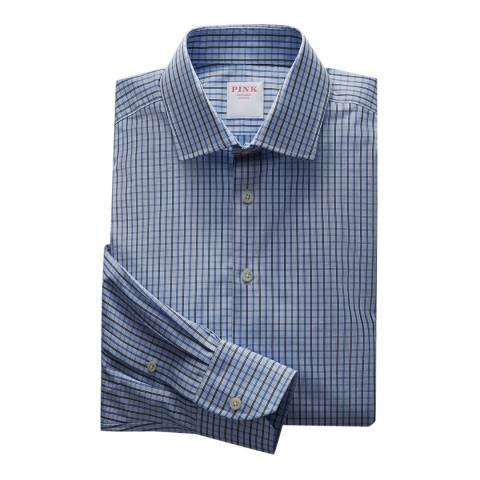Thomas Pink Blue Ramses Check Tailored Fit Shirt