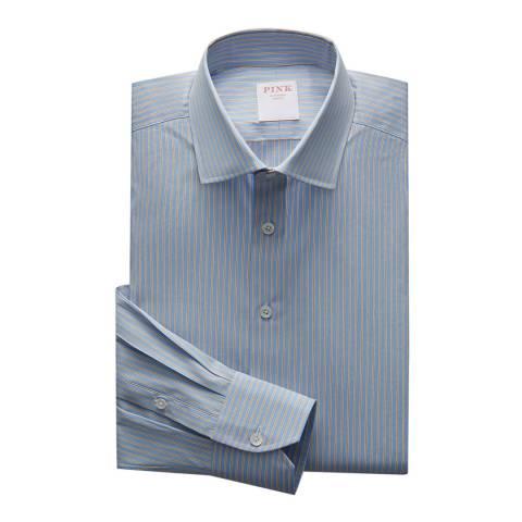Thomas Pink Blue Regent Double Stripe Tailored Fit Shirt