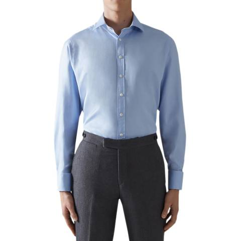 Thomas Pink Blue Royal Twill Tailored Double Cuff Shirt