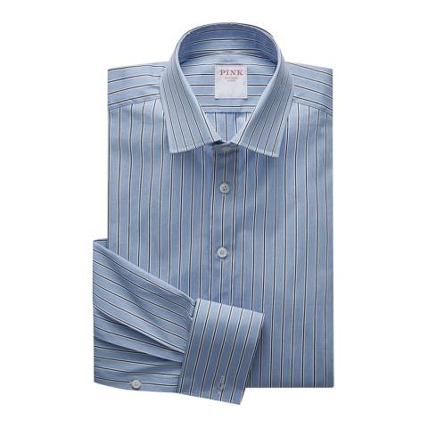 Thomas Pink Blue Regent End on End Stripe Tailored Fit Shirt