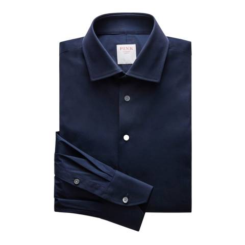 Thomas Pink Navy Stretch Poplin Athletic Button Cuff Shirt