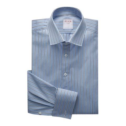 Thomas Pink Blue Regent End on End Stripe Classic Fit Shirt