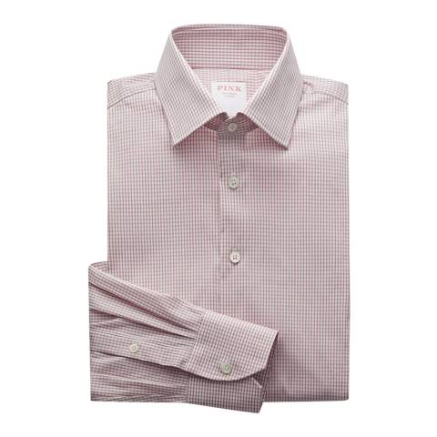 Thomas Pink Pink Grid Check Athletic Fit Stretch Shirt