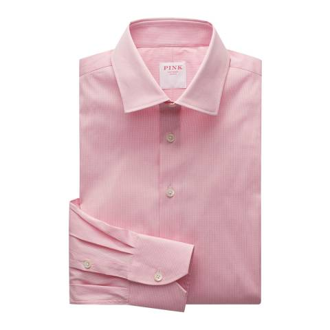 Thomas Pink Pink Micro Check Athletic Fit Stretch Shirt