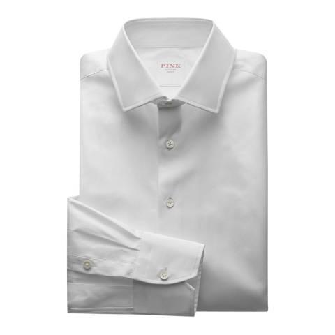 Thomas Pink White Core Poplin Classic Button Cuff Shirt