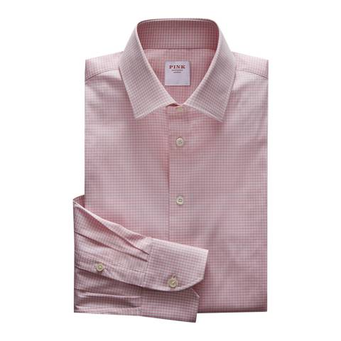 Thomas Pink Pink Check Athletic Fit Stretch Shirt