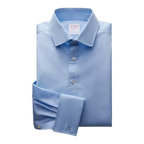 Thomas Pink Blue Core Poplin Classic Double Cuff Shirt