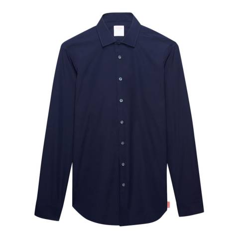 Thomas Pink Navy Slim Fit Poplin Shirt