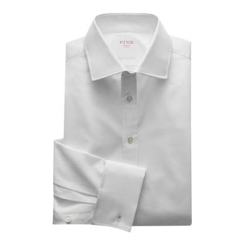 Thomas Pink White Core Poplin Classic Fit Double Cuff Shirt