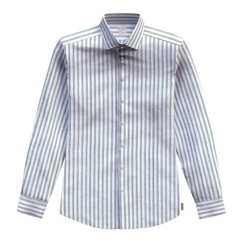 Thomas Pink Blue End on End Stripe Classic Fit Shirt