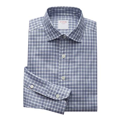 Thomas Pink Blue Windowpane Check Relaxed Fit Shirt