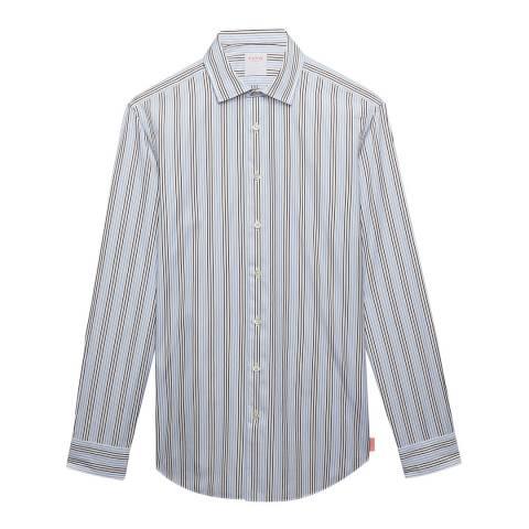 Thomas Pink Blue Stripe Slim Fit Poplin Shirt