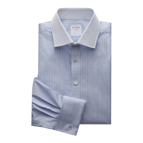 Thomas Pink Blue Supraluxe Stripe Classic Fit Shirt