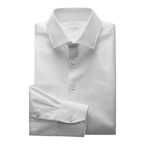 Thomas Pink White Core Poplin Tailored Button Cuff Shirt