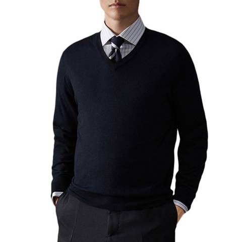 Thomas Pink Navy V Neck Merino Wool Jumper
