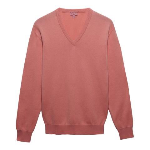 Thomas Pink Pink Cashmere Blend V Neck Jumper