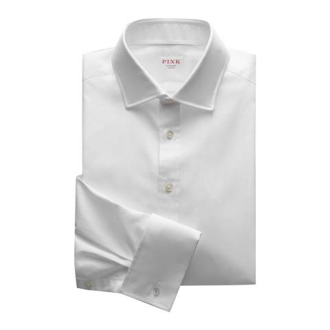 Thomas Pink White Royal Oxford Classic Double Cuff Shirt