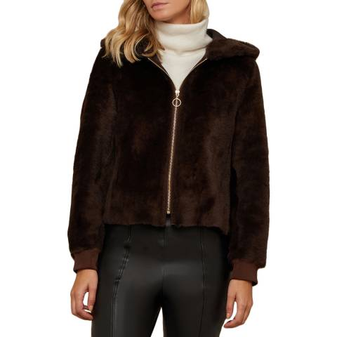 N°· Eleven Chocolate Shearling Hooded Bomber
