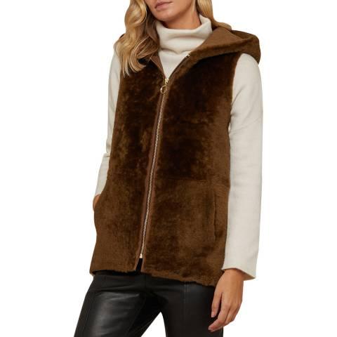 N°· Eleven Brown Shearling Hooded Gilet