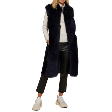 N°· Eleven Navy Long Reversible Shearling Gilet