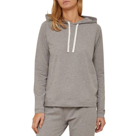 N°· Eleven Grey Marl Cotton Jersey Hooded Top