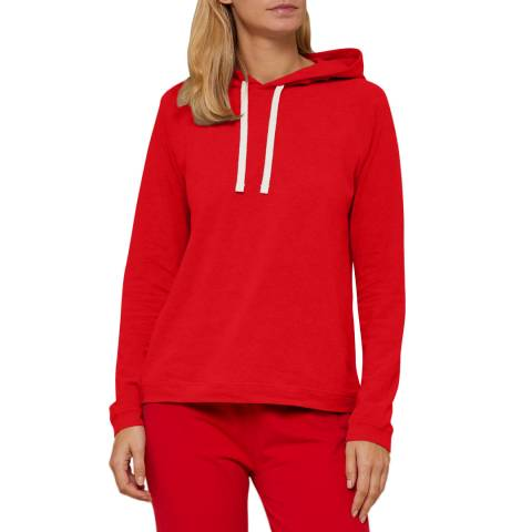 N°· Eleven Red Cotton Jersey Hooded Top