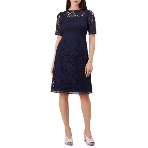 Hobbs London Navy Lace Mandy Dress