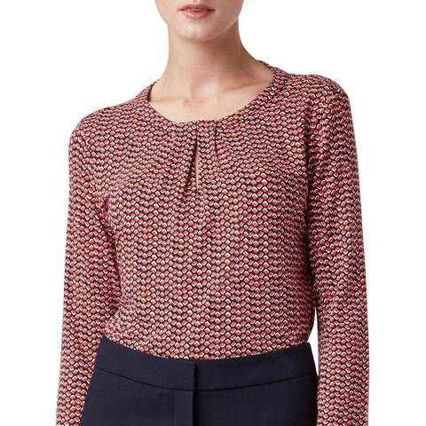 Hobbs London Red Print Julia Top