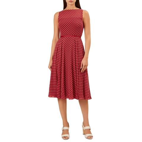 Hobbs London Red Dot Della Midi Dress