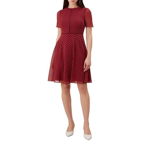 Hobbs London Red Cecily Spot Dress