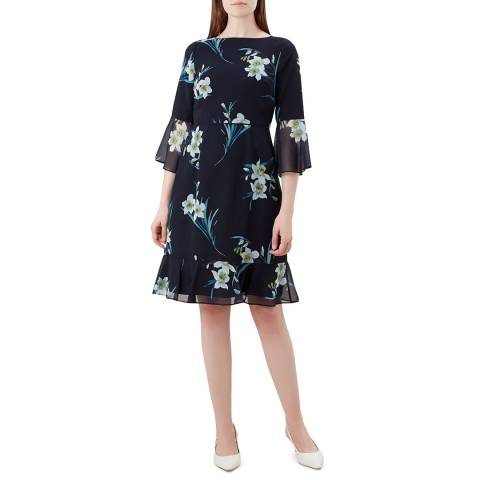 Hobbs London Navy Floral Adriana Dress
