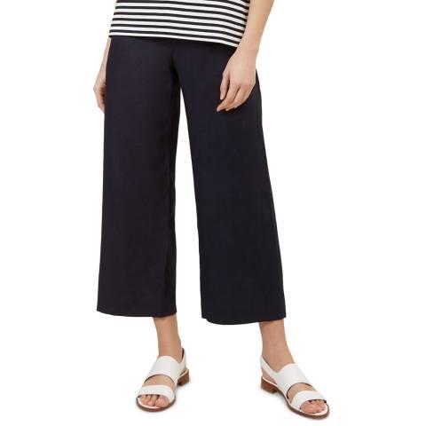 Hobbs London Navy Nicole Linen Crop Trousers
