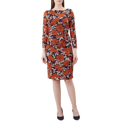 Hobbs London Navy Print Silk Blend Sacha Dress