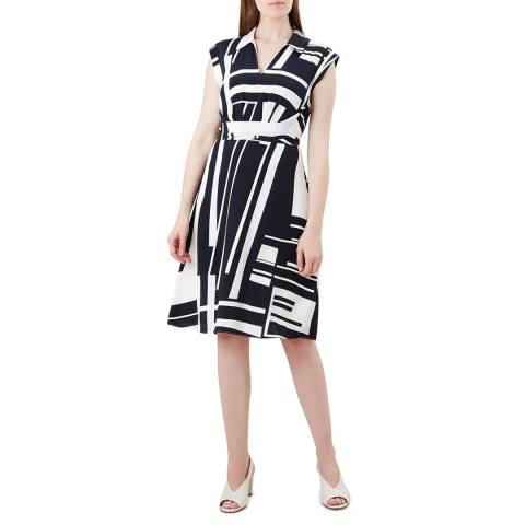 Hobbs London Navy Print Tahlia Dress