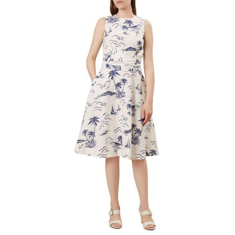 Hobbs London Ivory Print Linen Twitchill Dress