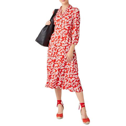 Hobbs London Red Floral Frederica Dress