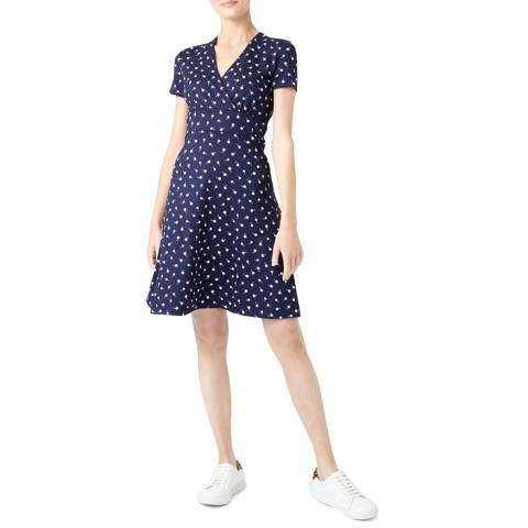 Hobbs London Navy Print Darcie Dress