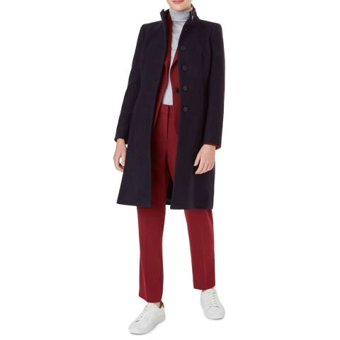 Hobbs London Navy Athena Wool Blend Coat
