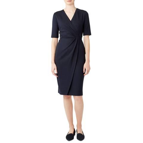 Hobbs London Navy Ponte Olive Dress
