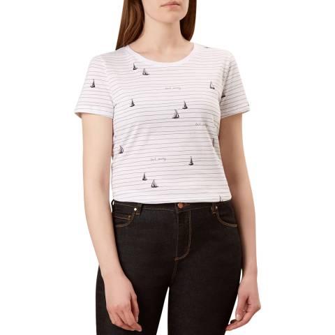 Hobbs London Navy Boat Print Pixie T-Shirt