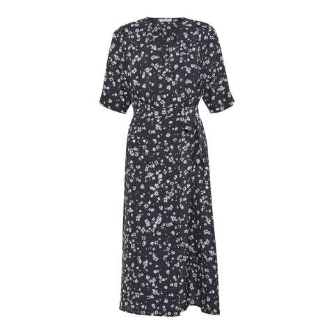 Great Plains Blue Paris Flower V Neck Wrap Dress