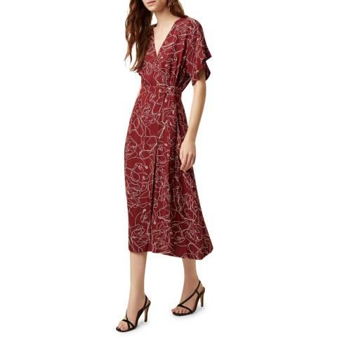 Great Plains Red Celeste Sketch Wrap Dress