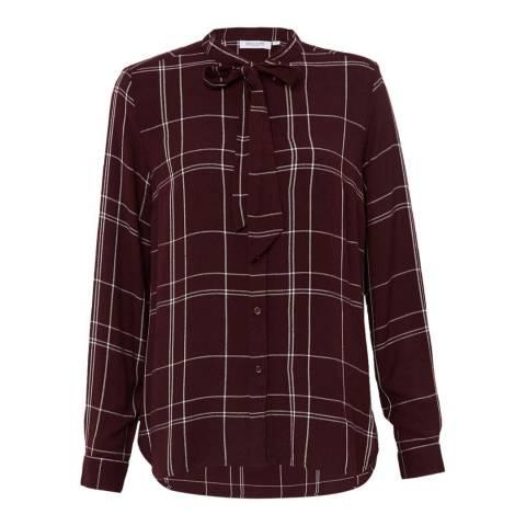 Great Plains Red Agnes Check Tie Neck Shirt