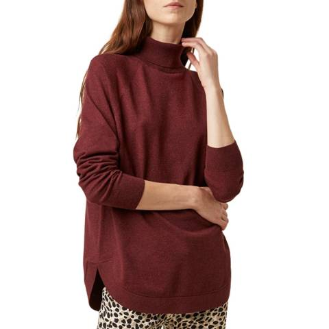 Great Plains Red Moselle Knit Roll Neck Jumper